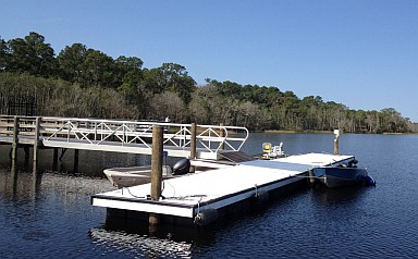 Buck Lake Boat Dock Landing Pier viewed from the water