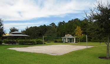 Buck Lake Volleyball Court with Covered Rest Area in background